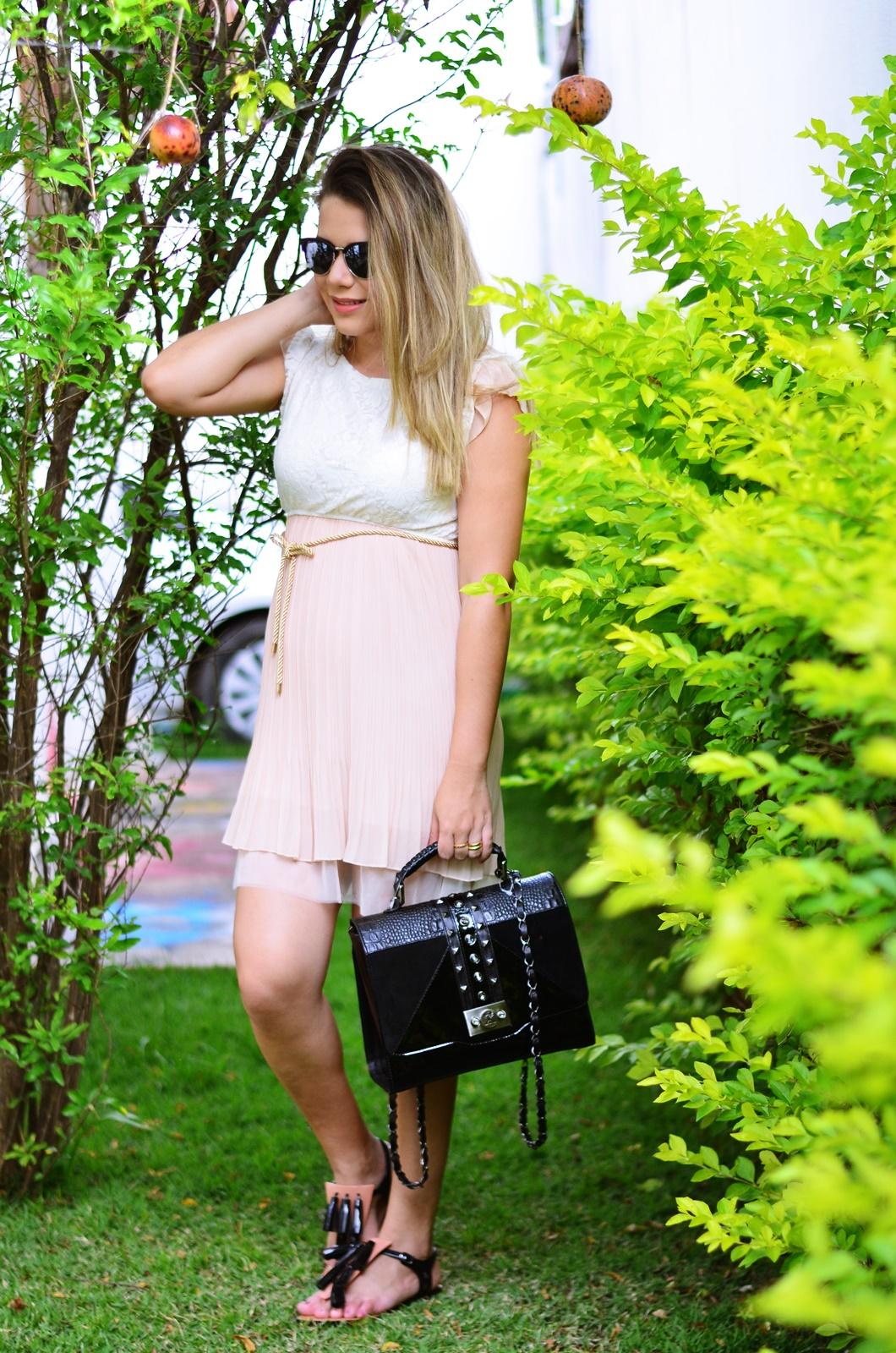 look gestante vestido bege + melissa solar + salinas 3