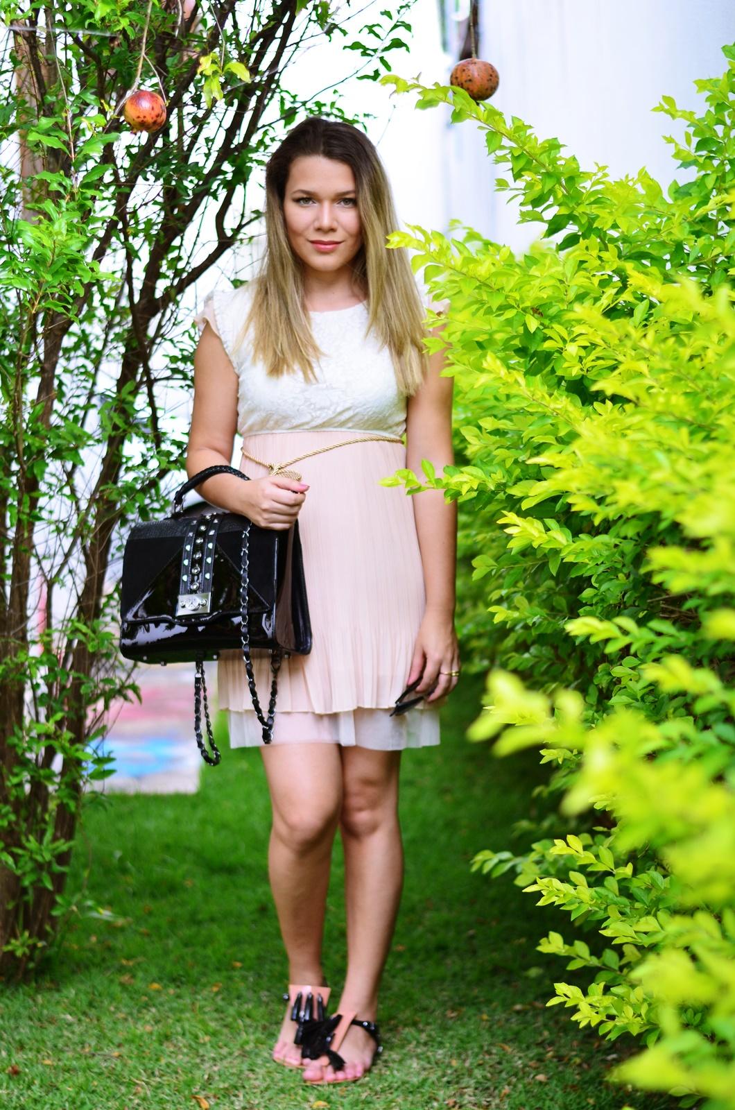 look gestante vestido bege + melissa solar + salinas 5