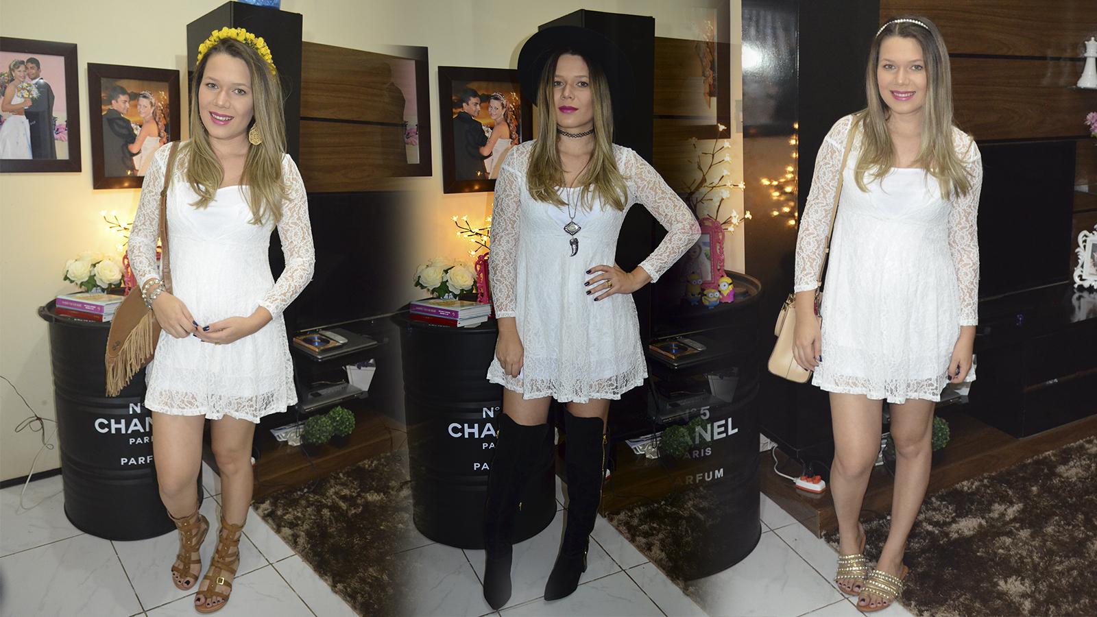1 peça 3 looks - moda gestante vestido branco de renda2