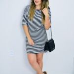 Look do Dia Pós Parto: Striped Dress  and animal print (Mix de Estampas)